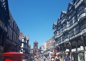 This is Bridge Street in Chester. We haven't counted yet but we're pretty sure there's more restaurants and cafes than people!! So many choices! #chester #sunnydays #summer #sunshine #eatingout #coffeeculture #thingstodo