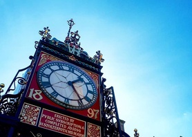 Our beautiful Eastgate Clock in the warm sunshine! #chester #blueskies #springday #beautiful #urbanbeauty #englishinchester