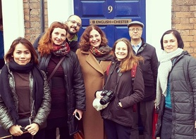 Our #EUKN Fam trip visitors with the famous blue door! Thank you all for coming! #myeic #english #englishinchester #chester #international #business #studyabroad #studyinuk #studyinengland #workingtogether