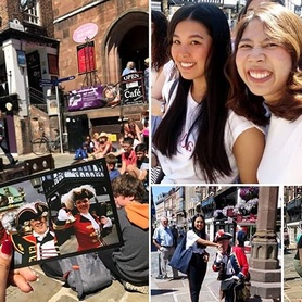 Teacher Sue's class enjoying the sunshine and the news from Chester's Town Crier #Chester #tradition #culture #discover #towncrier #england #uk #learnmore #outsidetheclassroom #english #language #sunshine #happyfriday