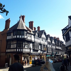 One of our favourite roads in Chester! St Werburgh St. Beautiful buildings, beautiful day! #heritage #history #iconic #tudor #chester #sunshine #sunnydays #happywednesday #autumn #englishinchester #shopping #citycenter