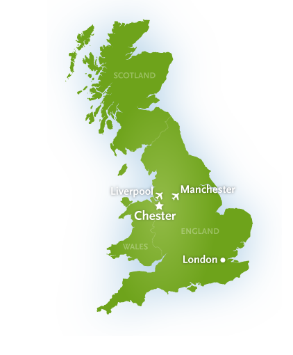 Map showing Chester, London and Liverpool and Manchester airports