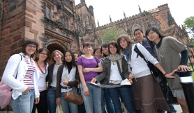 Students outside Chester Cathedral