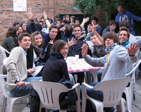 Students in the patio garden